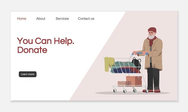 Fai una donazione per aiutare il modello vettoriale della pagina di destinazione. idea dell'interfaccia del sito web del rifugio per senzatetto con illustrazioni piatte. layout della homepage dell'organizzazione di beneficenza. banner web del fumetto di aiuto per la donazione, pagina web