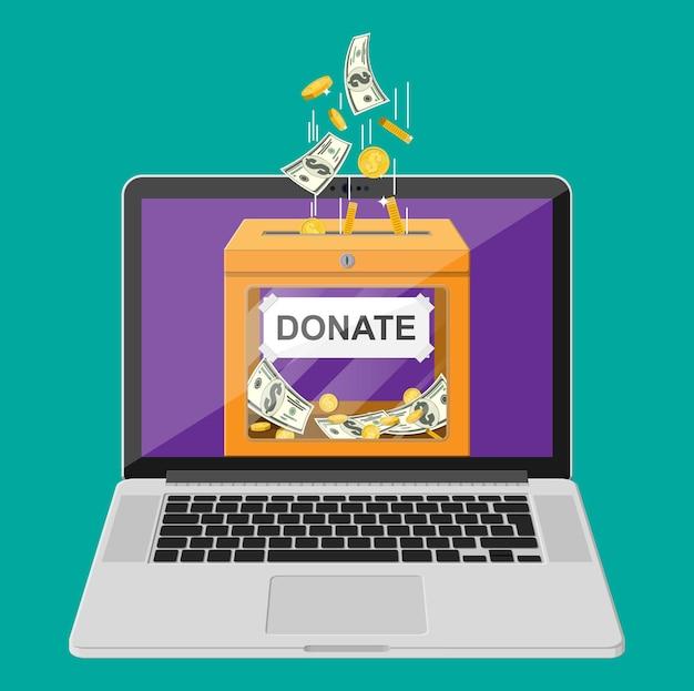Dona il concetto online. scatola per donazioni con monete d'oro, banconote in dollari e laptop. carità, donare, aiutare e aiutare il concetto. illustrazione vettoriale in stile piatto