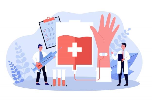 Donare sangue nell'illustrazione piana di vettore dell'ospedale