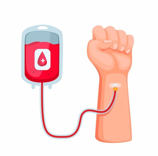 Donazione di sangue. mano con il concetto di trasfusione di sangue nel vettore dell'illustrazione del fumetto isolato