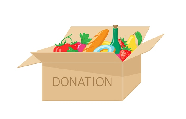 Scatola per donazioni con cibo. aiuti di beneficenza per i senzatetto e la fame