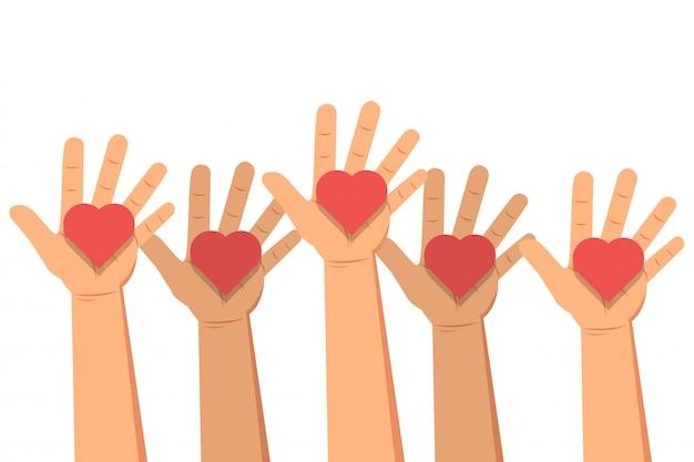 Concetto di donazione. le mani danno i cuori. illustrazione vettoriale