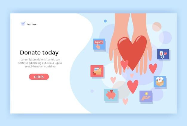 Illustrazione del concetto di donazione perfetta per la pagina di destinazione dell'app mobile dell'insegna di web design