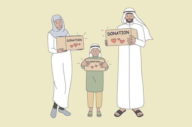 Donazione per il concetto di famiglie musulmane. sorridente famiglia araba madre padre figlio in piedi tenendo scatole di donazione in mano con scritte per beneficenza ramadan illustrazione vettoriale Vettore Premium