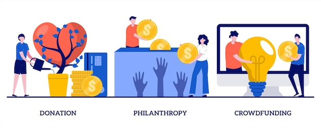 Donazioni, filantropia, illustrazione di crowdfunding con persone minuscole