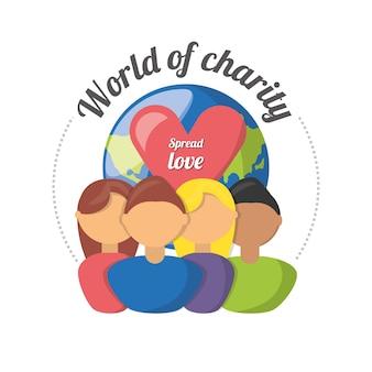Simbolo di sostegno alla donazione alla carità della gente