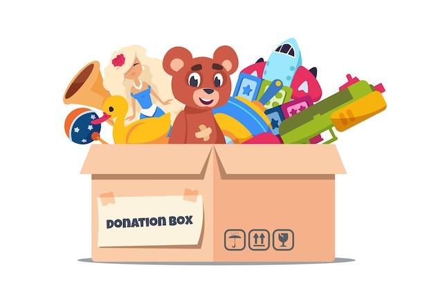 Scatola dei giocattoli donazione. contenitori di cartone con assistenza sociale e supporto per bambini puri su bianco