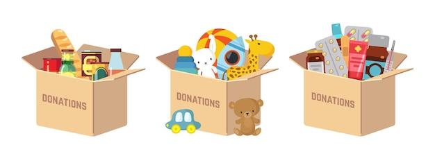 Scatole per donazioni. donare giocattoli per bambini, cibo e farmaci aiuti umanitari. gentilezza di carità, assistenza sociale volontaria. raccogli la scatola di cartone con le cose per l'illustrazione vettoriale dei poveri o dei senzatetto