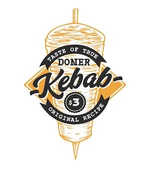 Modello di logo emblema retrò di doner kebab con testo nero e schizzo di spiedo di kebab giallo