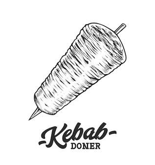 Modello di logo emblema retrò di doner kebab con testo in bianco e nero e schizzo di spiedo di kebab