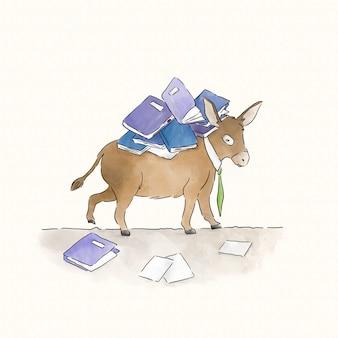 Asino con un carico di libri