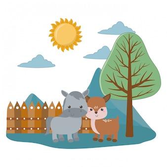 Cartone animato asino e cervi