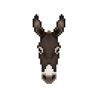 Testa d'asino in stile pixel art