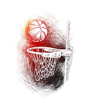 Non perdere il bersaglio basket basket shot hoop gioco hand drawn sketch vector illustration