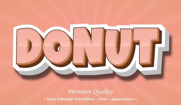 Ciambella effetto stile font 3d Vettore Premium