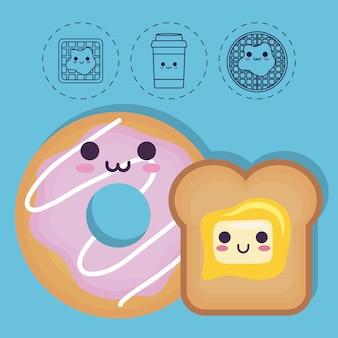Ciambella e pane con icone relative al cibo della colazione