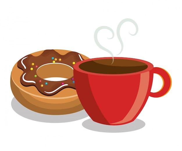 Dessert dolce del caffè della ciambella isolato