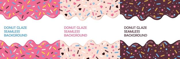 Ciambella glassa con spruzza set di seamless. colori rosa, cioccolato, beige.