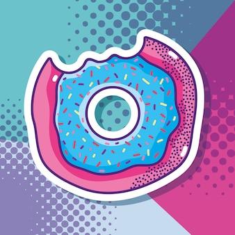 Donut pop art fumetto su sfondo colorato