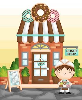 Donut shop boy Vettore Premium