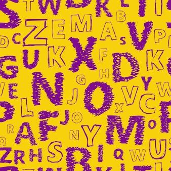 Fondo senza cuciture di alfabeto di doodle. modello vettoriale senza fine con lettere viola su sfondo giallo.