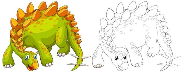 Doodle contorno animale di dinosauro