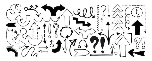 Doodle frecce, segni esclamativi e punti interrogativi isolati su sfondo bianco. illustrazione vettoriale