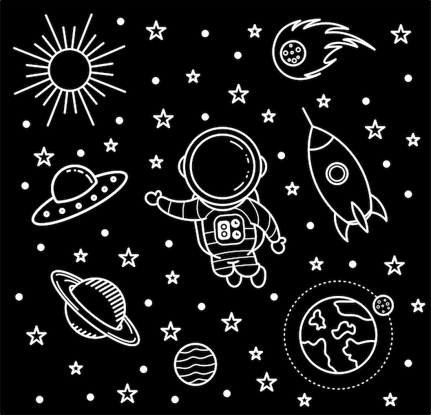 Sfondo di doodle art, astronauta in bianco e nero