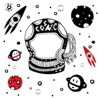 Set oggetti astronomici doodle. illustrazione vettoriale cosmica disegnata a mano.