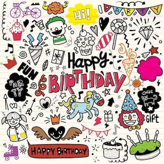 Fondo della festa di compleanno di scarabocchio, elemento di compleanno di tiraggio della mano