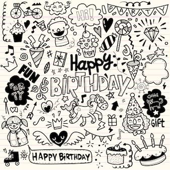 Elementi di festa di compleanno di doodle, insieme di tiraggio della mano