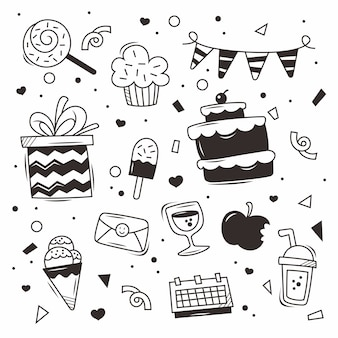 Doodle compleanno vettore