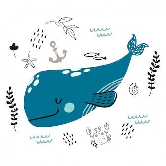 Doodle balena sorridente blu per infantile.