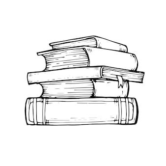 Doodle collezione di libri in stile nero. disegnato a mano. illustrazione vettoriale per il tuo design.