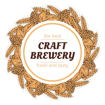 Corona rotonda birreria doodle con luppolo e grano