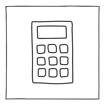 Icona o logo della calcolatrice doodle, disegnata a mano con una sottile linea nera. Vettore Premium