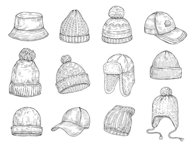 Tappi doodle. cappelli invernali tricottati, raccolta isolata vettore caldo disegnato a mano del cappuccio