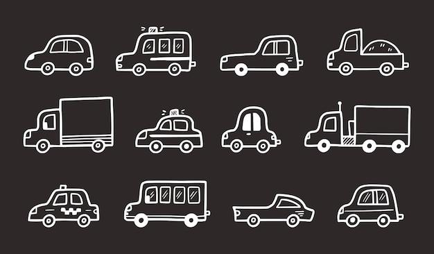 Schizzo divertente del set di auto doodle