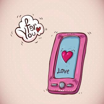Doodle card san valentino con telefono rosa