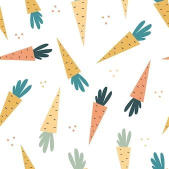 Modello senza cuciture di vettore della carota di scarabocchio struttura disegnata a mano per il tessuto dei tessuti della carta da parati della cucina