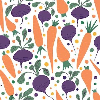 Doodle carote e carta da parati barbabietola. reticolo senza giunte disegnato a mano di carote e barbabietole su priorità bassa bianca. design per tessuto, stampa tessile, carta da imballaggio, tessile per bambini. illustrazione vettoriale