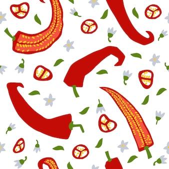 Reticolo senza giunte di vettore del peperoncino di doodle struttura disegnata a mano per il tessuto della carta da parati della cucina