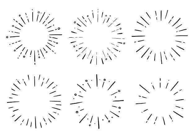 Doodle set di raggi scintillanti a raggi di sole cerchio