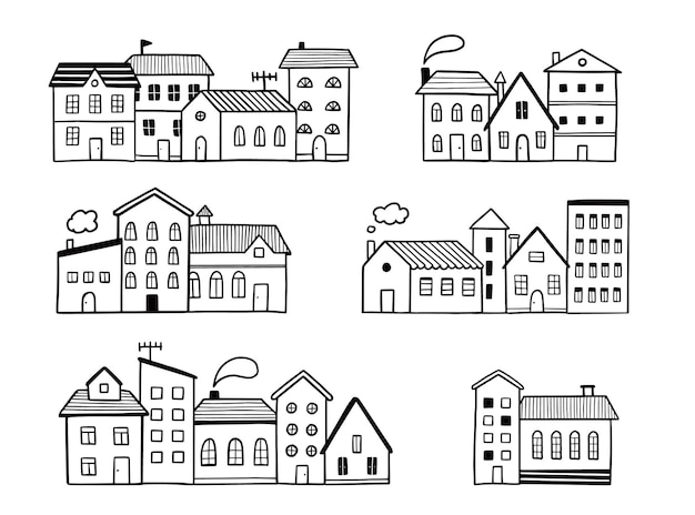 Doodle strada della città con casa