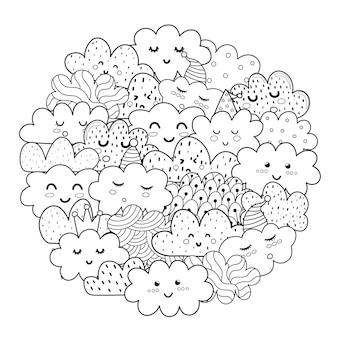 Reticolo di forma del cerchio di nuvole di doodle per libro da colorare.