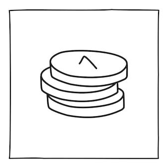 Doodle icona o logo della fattura della moneta, disegnata a mano con una sottile linea nera. isolato su sfondo bianco. illustrazione vettoriale