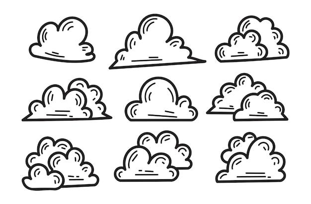 Collezione di scarabocchi di illustrazioni di nuvole