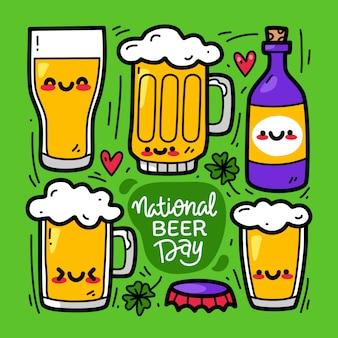 Insieme di raccolta doodle di elemento birra. giornata internazionale della birra