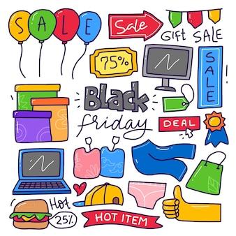 Insieme di raccolta di doodle dell'elemento del black friday.