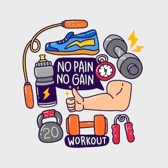 Doodle insieme di raccolta elemento fitness palestra.